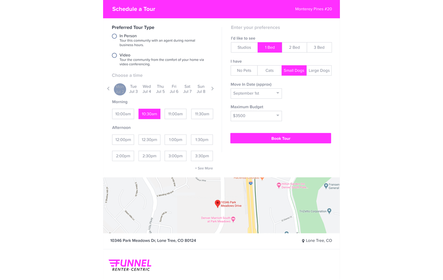 self-tour scheduling feature of CRM product from Funnel